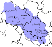 Das Gebiet Schlesiens in den Grenzen von 1918.